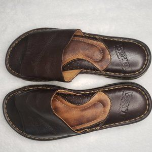 NWOB Born Brown Leather Slip On Sandals Size 6